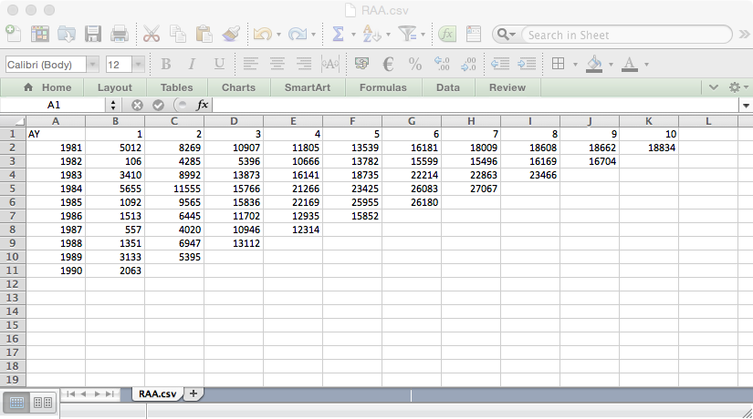 First steps with ChainLadder: Import triangle from Excel into R